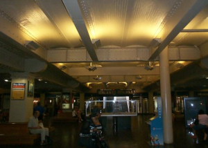 The station's concourse, which actually is below the tracks, was dark and dingy before renovation. Photo: The station's red brick, mortar and terracotta were showing signs of chalking before the restoration. Photo: Don Pearse Photographers, courtesy of Bernardon Haber Holloway Architects PC