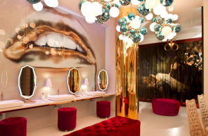 Vanity Nightclub at the Hard Rock Hotel and Casino, Las Vegas, features a 2,000-square-foot women's restroom with a private makeup area and backlit mirrors for soft lighting. PHOTO: Jeff Dow