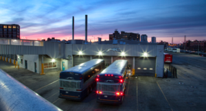 Greyhound Lines Inc. terminal in Chicago after an exterior lighting retrofit.