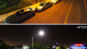 Luminaires were mounted on existing steel, concrete or wooden poles set in the curb along the roadway or mounted on the median, as appropriate.