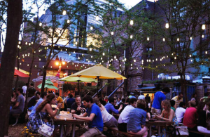 Pop-up Beer Garden: Created in an empty lot slated for development in two or three years, Fierabend worked with the Pennsylvania Horticulture Society, Philadelphia, and the Morgan's Pier developer to bring the short-term venue to life.