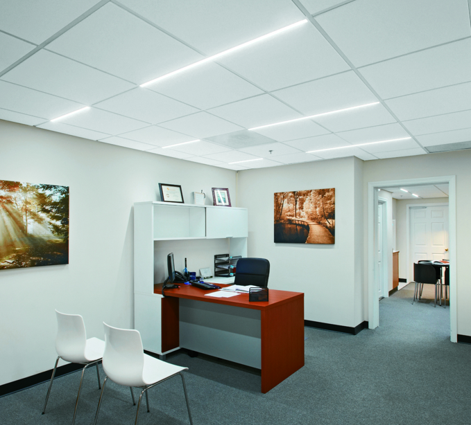 Linear Led Fits Into Ceiling Suspension Systems Retrofit