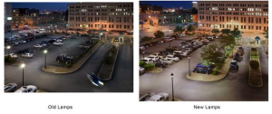 The City Hall parking area had 52 metal halide lamp fixtures that were replaced with LED replica luminaires.