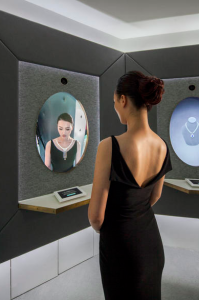 "A digital gallery with six ""Magic Mirror"" interactive screens allows visitors to see iconic Tiffany & Co. jewelry and try pieces on virtually. Photo: Tiffany & Co."