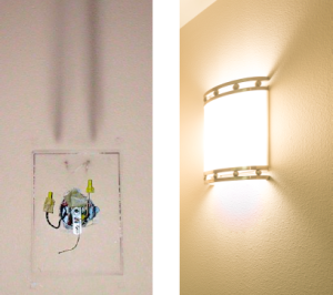 Before (left) and after photos show the black streaks left by the previous fluorescent fixtures.