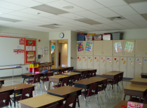 Slatington Elementary School employs gypsum board and ceiling panel combinations.