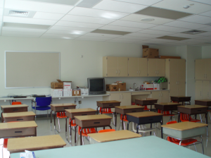One of the main objectives of the renovation was converting the 1970s-era school's open-concept interior space into state-of-the art, new self-contained classrooms.