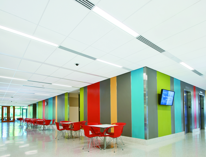 Acoustical Ceiling System Organizes Lighting Air