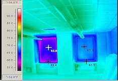 Infrared imaging shows window frame surface temperature differences of nearly 8 F between the old unit on the left and the new Wausau INvent unit on the right. The exterior temperature was 33 F. The interior temperature was 71 F.