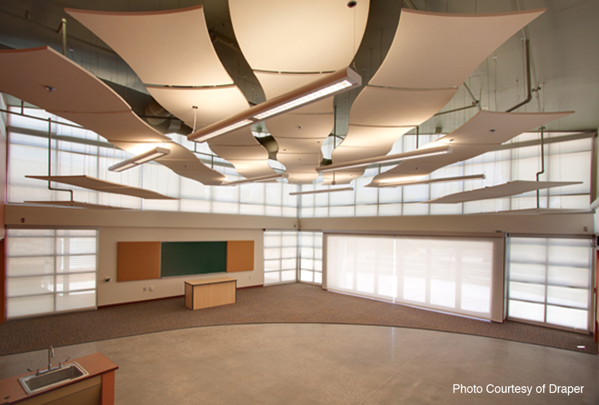 Acoustical Fabrics Absorb Sound And Diffuse Light Retrofit