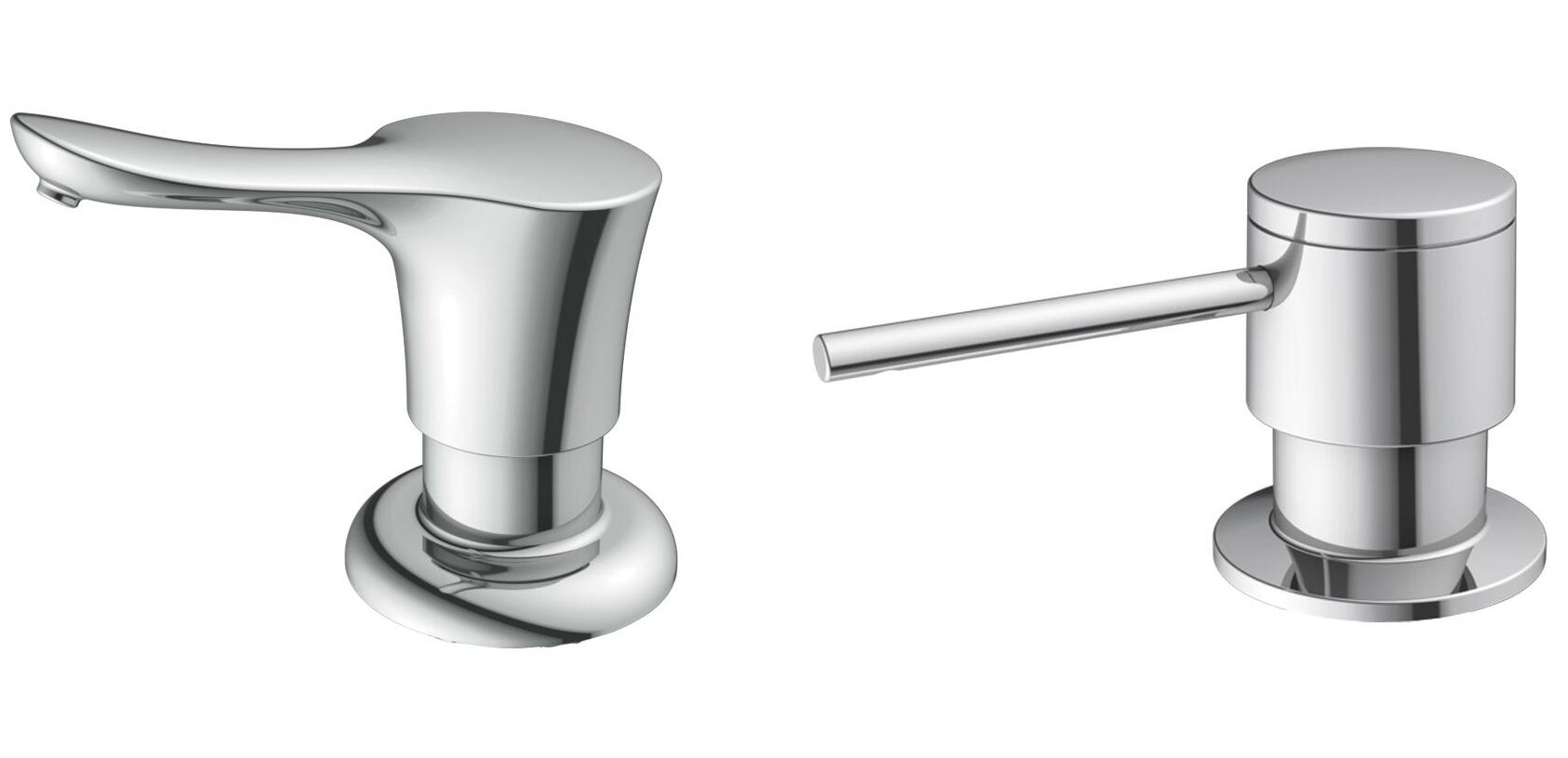 Decorative soap dispensers match faucet collection retrofit for Faucet and soap dispenser placement