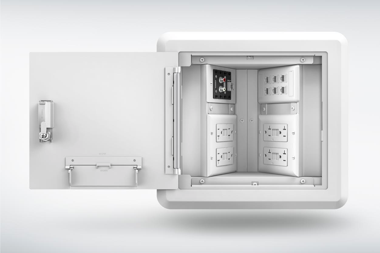 Hinged Wall Box Provides Access to Power, Data and A/V Connections ...