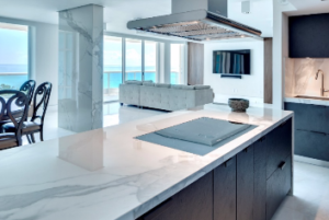 Carrara marble is often touted for its quality, color and lavish feel. These characteristics made the material a top choice for one Miami Beach, Fla., family, who wanted to capture the ancient Roman essence when renovating their dated condominium in the luxurious Capobella building.