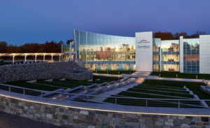 The Saint-Gobain and CertainTeed Headquarters features a 25,000-gallon tank that collects rainwater for the fountain and landscaping system. In addition to the fountain feature, the headquarters boasts a pond and 1.3 miles of walking trails.