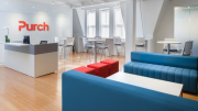 Purch was able to shift the reception area from being a gate between the office and guests to a lively center of social interaction and collaboration.
