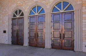 Copper sheeting was applied to the doors to preserve and extend their life.