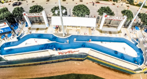 "The Choctaw Lazy River's figure-eight shape and consistent 3-foot depth direct the water's flow and maintain the consistent current needed to glide guests in inner tubes through the ""river""."