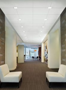 Intersection Downlighting provides architects and designers with the opportunity to place LED recessed downlights at the intersections of acoustical ceiling suspension systems.