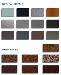 ATAS International has introduced its oxide series of metal panels—seven colors made to look like weathered steel with a rust-like appearance.
