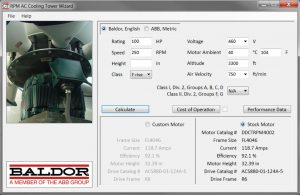 Updated cooling tower motor selection software offers for Baldor direct drive cooling tower motors