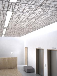 Ceiling Panels' Patterns Evoke a Room's Program - retrofit