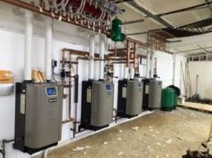The four Evergreen boilers maintain proper temperatures in the building, while providing supplemental heat for the fish tanks and nurseries.