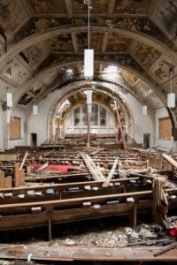 In 2011, a fire destroyed most of the church sanctuary building, leaving only stone walls and ruin behind.