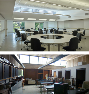 In addition to making classrooms bright and airy, the building's programming fosters interaction between students and faculty with a new dining hall and student services offices.