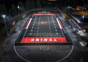 The Tenino, Wash., school district chose to replace its metal halide lights with StaxMax Flood Lights because of its 75,000-hour lumen maintenance, light output and efficiency.
