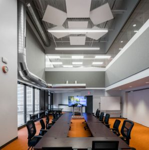 Rockfon enriches the acoustic experience of the open office design at Solar Spectrum.