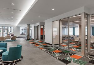 The renovation honors historic aspects of Baker Center, while creating modern spaces to support the mobile worker.