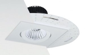 The Flush Mount model features a visible round or square trim flange that installs flush with the ceiling.